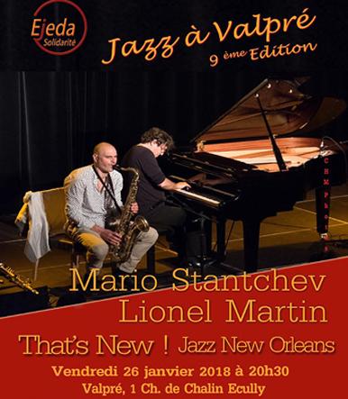 Vendredi 26 janvier Mario Stantchev et Lionel Martin à 20h30