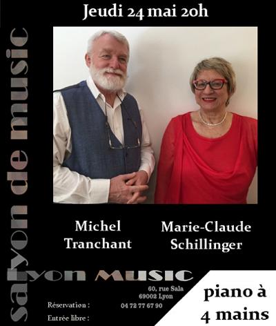 Jeudi 24 mai Marie-Claude Schillinger et Michel Tranchant  récital piano à quatre mains
