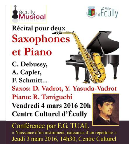 Vendredi 4 mars 20h Récital pour deux saxophones et piano