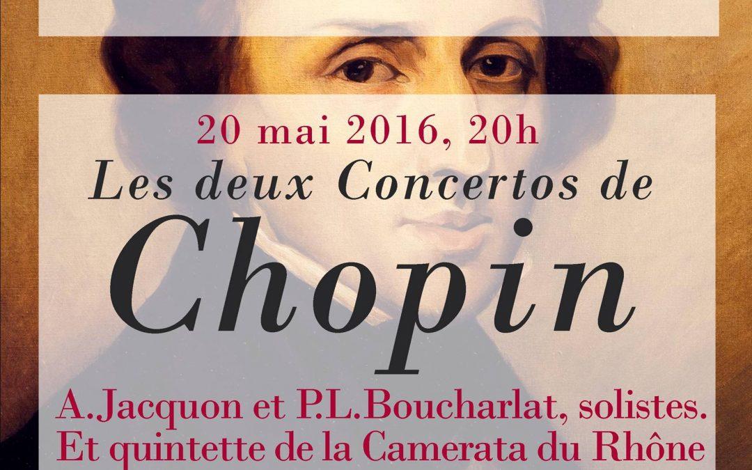 Vendredi 20 mai 20h deux concertos de Chopin par A. Jacquon et P.L. Boucharlat