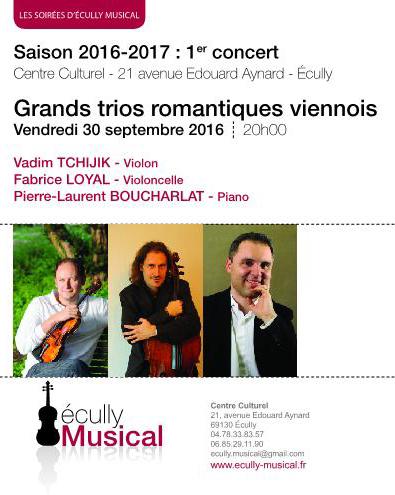 vendredi 30 septembre 2016 20h Grands trios romantiques viennois
