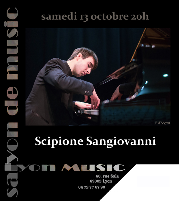samedi 13 octobre 20h concert de Scipione SANGIOVANNI, piano